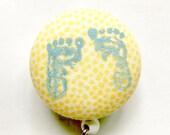 Baby Feet Badge Reel - NICU Badge Reel - Baby Foot Prints - Name Badge - Retractable Reel - Maternity Nurse - Nurse Gift - Fabric Badge Reel