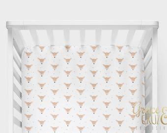 Fitted Crib Sheet - Deer Head Cute drawn fawns // Gender Neutral Deer Tan Black and White