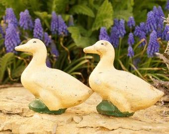 Vintage Lawn Ornaments, Concrete Duck Pair, Cement Ducklings, Rustic Outdoor Decor