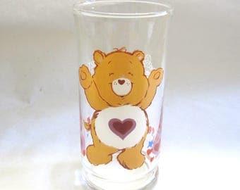 Care Bear Glass Tenderheart Drinking Cup Carebear 1983