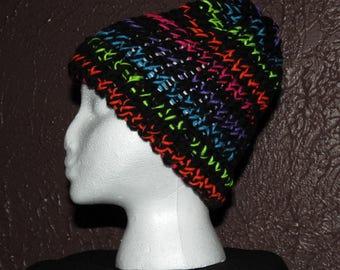 Neon Stripe Knit Hat