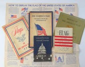 United States Flag Booklet Lot, American Flag History and Display Etiquette