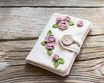 Roses Credit Card Wallet, Floral Credit Card Organizer, Natural Cotton Card Holder