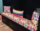 Custom Bench Cushion in Santa Maria Desert Flower