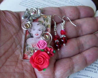 Jewelry Set (S704) Necklace and Earrings, Marilyn Monroe Graphic Under Resin Pendant, Crystal Dangles, Flowers, Silver, Red and Pink