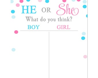 Gender Reveal Voting Tally Sheet Printable - Instant Download - Gender Reveal Confetti Collection