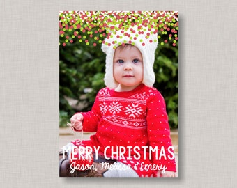 Confetti Christmas Card, Photo Christmas Card, Christmas Cards, Holiday Cards, Holiday Photo Card, Printable Christmas Card, Photo Cards