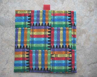 Crayons Reusable Sandwich Bag, Reusable Snack Bag, Washable Treat Bag, Change Purse with easy open tabs
