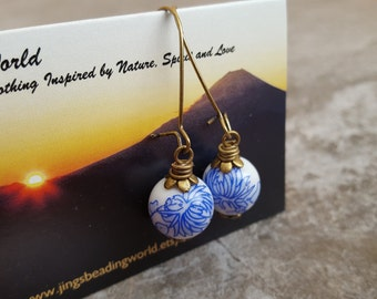 Blue Floral Porcelain Earrings - Blue and White Earrings - Porcelain Jewelry - Vintage Blue Earrings