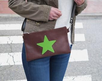 Leather purse bag,star handbag,brown leather purse,leather green handbag,stars leather,stars purse bag,crossbody bag,steampunk,silver star