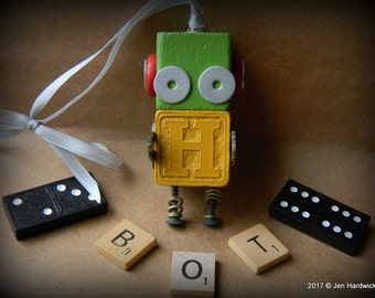 50% OFF - Robot Ornament - H Bot (Green/Yellow) - Upcycled Ornament - Hanging Decor by Jen Hardwick