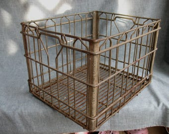 Vintage Milk Crate 1974 Tuscan Dairy Farm Wire Metal Basket Industrial Salvage New Jersey