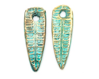 Leaf or Feather Dangles Handmade Bronze with Patina