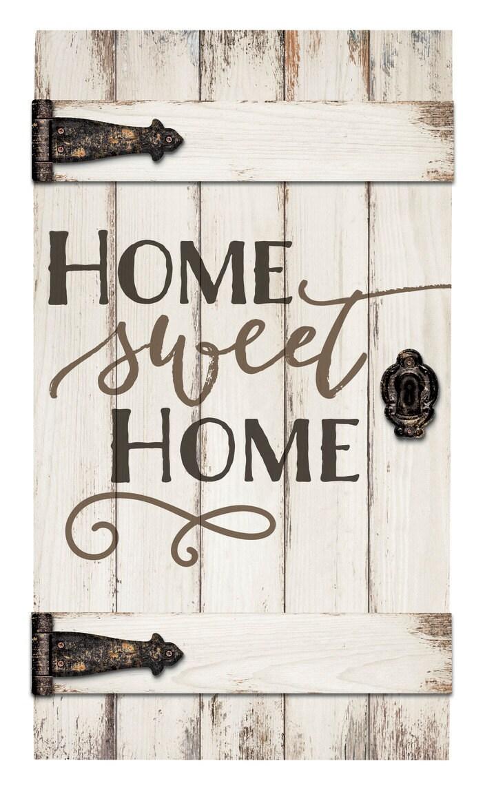 Home sweet home barn door sign pallet sign engraved wood - Wooden door signs for home ...