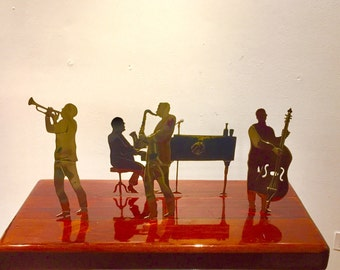 Musical Metal and Wood sculpture Improvisational Jazz Quartet