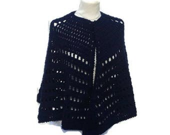 Crochet Cape Poncho  Shawl Hand Crocheted Cape Poncho Shawl Handmade Ready to Ship   Gift for Her Gift for Mom