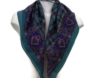 80s Scarf Large Square Scarf Purple and Teal Scarf 1980s Neck Scarf Paisley Scarf Purple Paisley Scarf Teal Scarf Purple Scarf