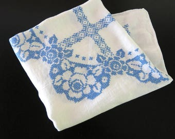 Vintage White Linen Tablcloth Blue Cross Stitched Rose Design 48 by 51 Inches 771a