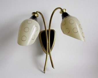 1950s vintage sconce/ Midcentury Modern wall light/ two-way tulip lamp/ Black, brass, cream circles