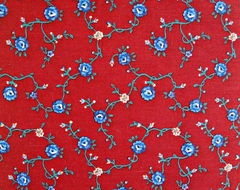 Red Provincial Print Quilt Fabric 100 Percent Cotton, Fabric by the Yard