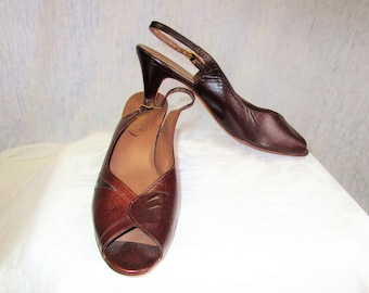 80s 10 Celebrity Handmade Leather Peep-toe Slingbacks SHOES Dark Brown Unworn