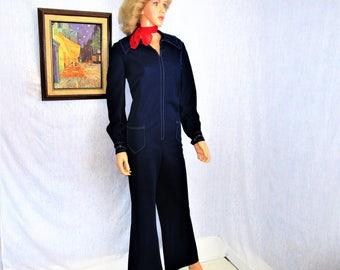 70s XL 1X JUMPSUIT Polyester Knit Bell Bottoms Navy Blue