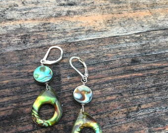 Abalone shell and sterling earring