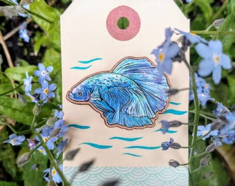 Blue Siamese Fighting Fish Wooden Brooch