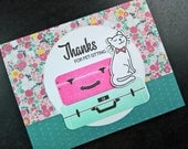 Card for Pet Sitter, Pet Sitting Thank You Card, Cat Sitter Thank You Note, Summer Vacation, Cat Lover Gift, Thanks Pet Sitter
