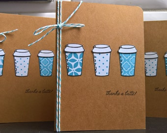 Winter Thank You Cards Set of 3, Thanks a Latte Thank You Notes, Christmas Thank You, Coffee Cards, Coffee Lover Gift, Holiday Thank You