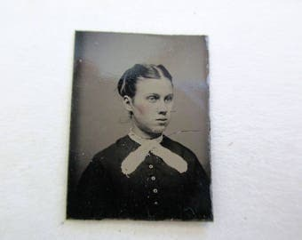 antique miniature gem tintype photo - 1800s, woman with bow, rosy cheeks