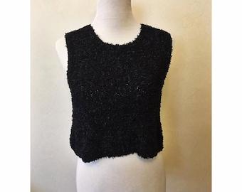 90s Black Fuzzy Sleeveless Shirt