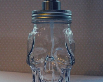 "Custom Engraved Clear Glass ""Skull"" Soap Dispenser - Silver Lid/Pump - Engraving Included"