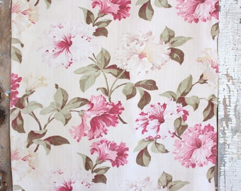 Cottage Chic Creamy Pink Floral  Vintage Nubby Barkcloth Fabric Drape Drapery Panel