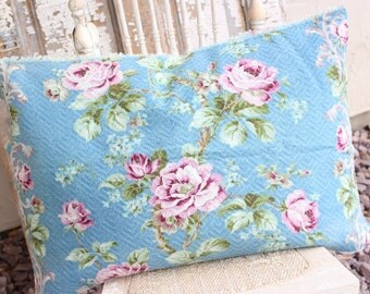 Antique English Cabbage Roses Floral Pattern Decorative Designer Custom Vintage Nubby Barkcloth Fabric Throw Pillow