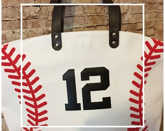 Personalized Baseball Tote - Red Baseball Laces - Handbag - Women Accessories - Team Mom Bag - Baseball Mom - Sports Bag - Football Tote