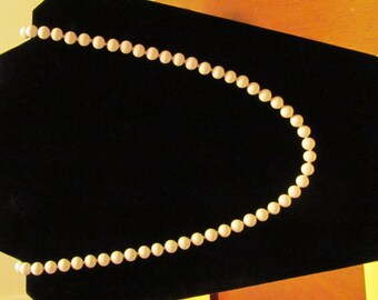 Vintage White Milk Glass Knotted Bead Necklace marked Monet