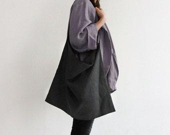 Grey tote bag, Linen tote bag, Charcoal tote bag, Large linen bag, Dark grey fabric tote bag, Grey shopping bag, Linen everyday bag Tote bag