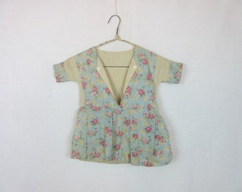 Vintage Feed Sack Clothes Pin Bag Girl's Dress Pink Roses Cottage Chic