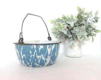 Vintage Granite Ware Pot Blue Swirl Handled Enamel Ware Farmhouse Decor