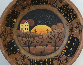Halloween Folk Art Primitive Wood Bowl, Black Cats watching Cat Constellation, Full Moon, Saltbox Silhouette Houses, Pumpkins READY TO SHIP