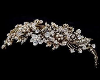 Gold tiara, gold pearl headband, grecian tiara, gold grecian headpiece, bridal headband, ivory pearl headband, crystal pearl hairband, tiara