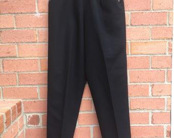 High-Waisted 1970's Levi Strauss & Co. Sailor Style Black Slacks