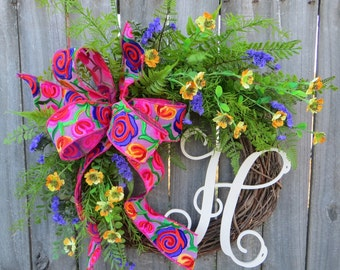 Spring / Summer Wreath, Wreath for Spring / Summer, BOHO Floral Wreath, Bright Colors Wreath, Spring Wreath with Bright Fern and Flowers