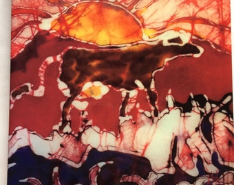 Jersey cow Trivet  -  Red Cow on Pasture Returns to Barn  -  Batik -Ceramic tile