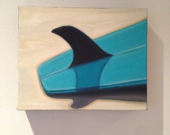Turquoise surfboard original oil by Carin Vaughn