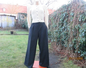 Wool Pants / Woolen Pants / Wool with Poly / Black Pants / Wide Leg Pants / Women Trousers / For Tall Girls / Size EUR40 / UK12