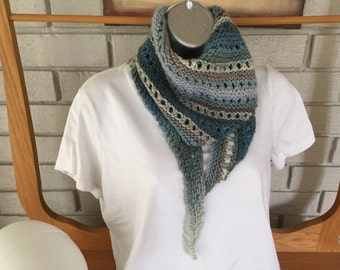 Hand-knit Small Shawl/Kerchief/Bandana style Scarf in shades of blue, grey, white and purple