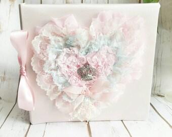 Personalized Wedding Album, Blush Pink Album, Blush Bridal Album, Shabby Chic Album, Princess Album, Fabric Album, Wedding Photo Book