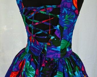Rainbow floral bohemian 80s/90s corset laced open back full skirted mini festival sundress size S